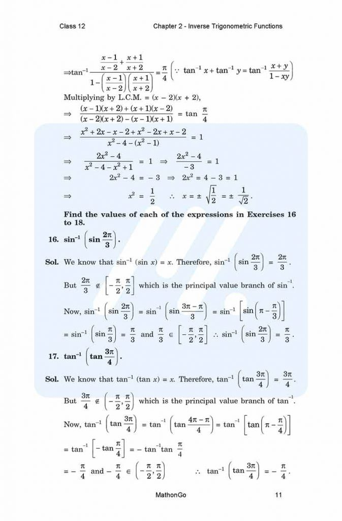 Chapter 2 - Inverse Trigonometric Functions