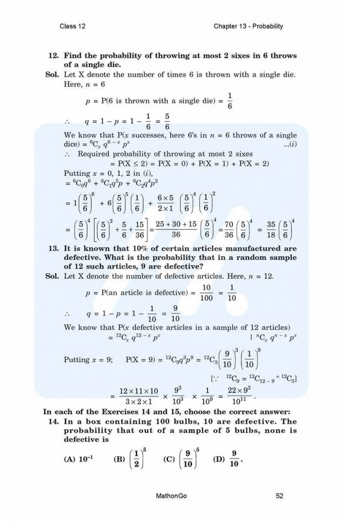 NCERT Solutions for Class 12 Maths Chapter 13 - Probability