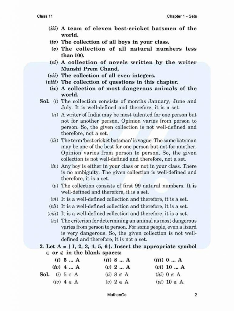 NCERT Solutions for Class 11 Maths Chapter 1 - Sets PDF Download