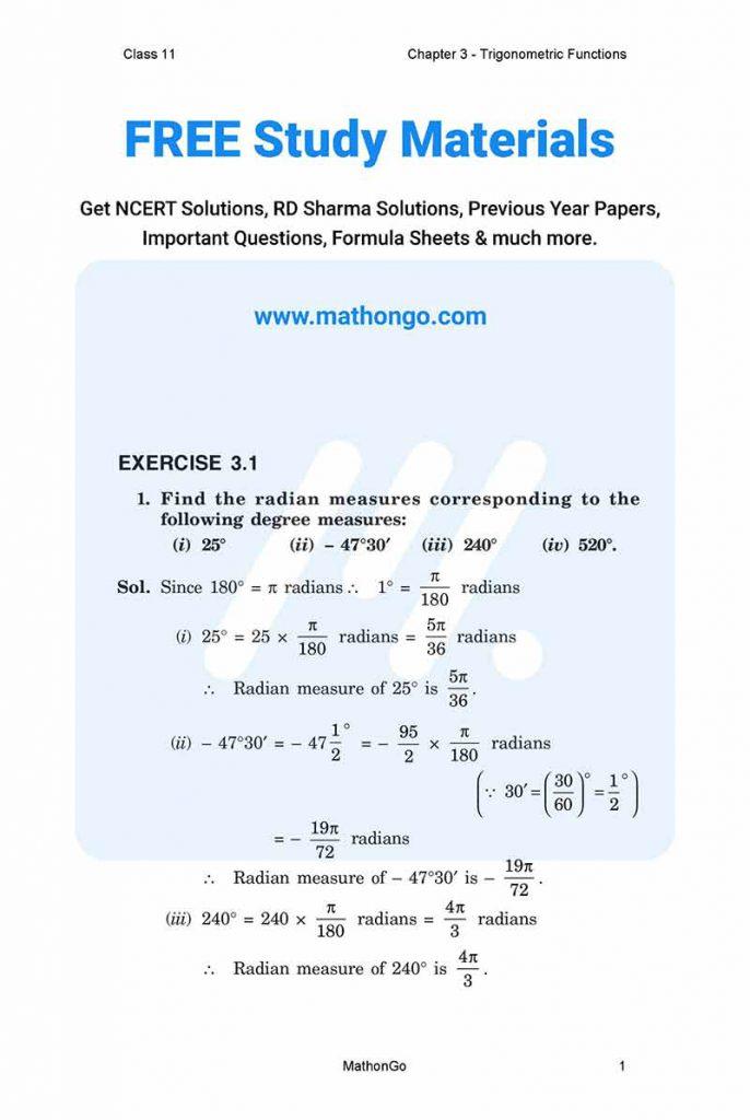 NCERT Solutions for Class 11 Maths Chapter 3 - Trigonometric