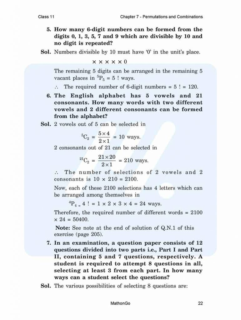 Chapter 7 - Permutations and Combinations