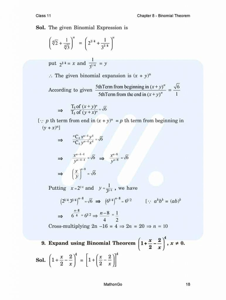 Chapter 8 - Binomial Theorem