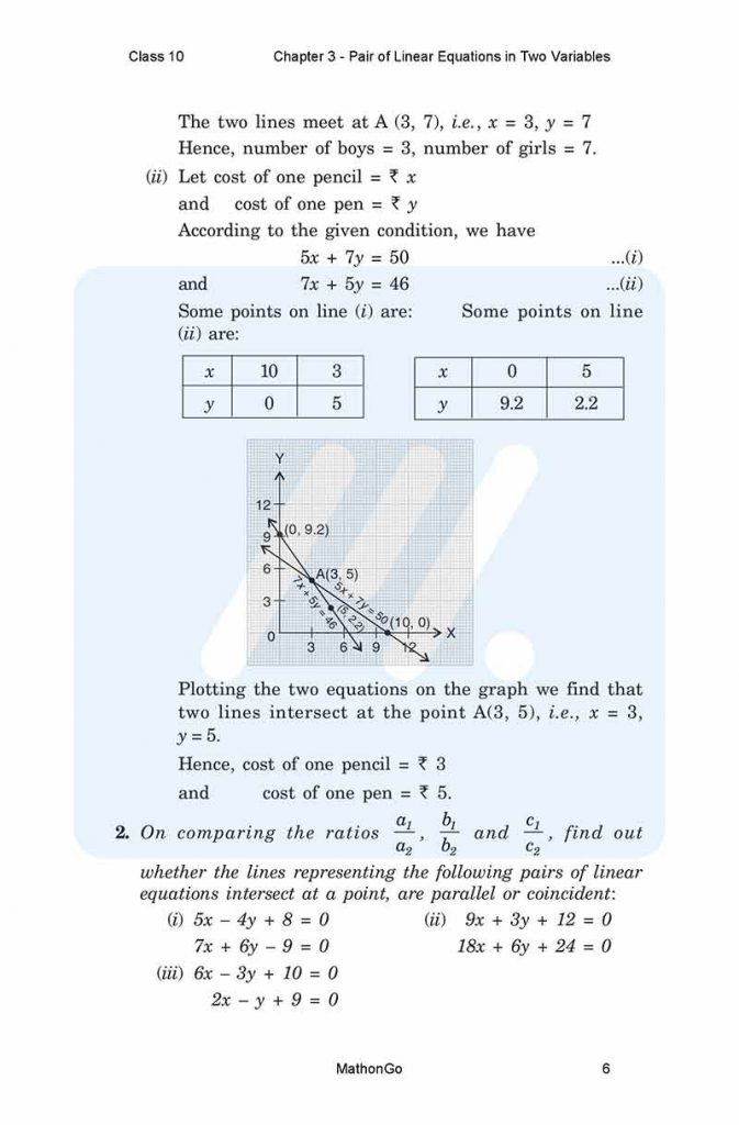 Chapter 3 - Pair of Linear Equations in Two Variables