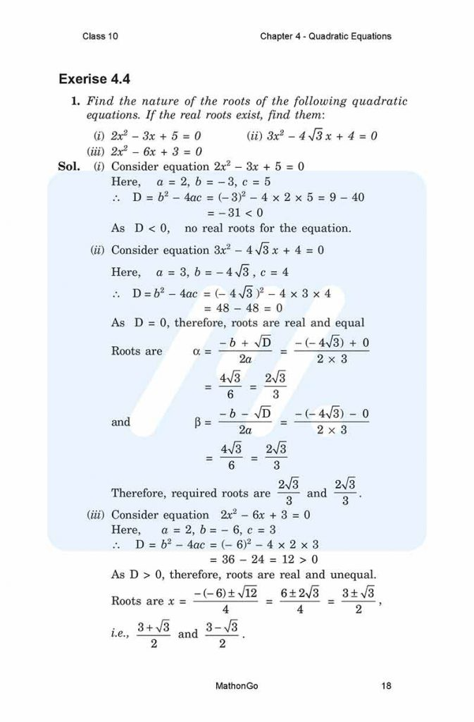 Chapter 4 - Quadratic Equations
