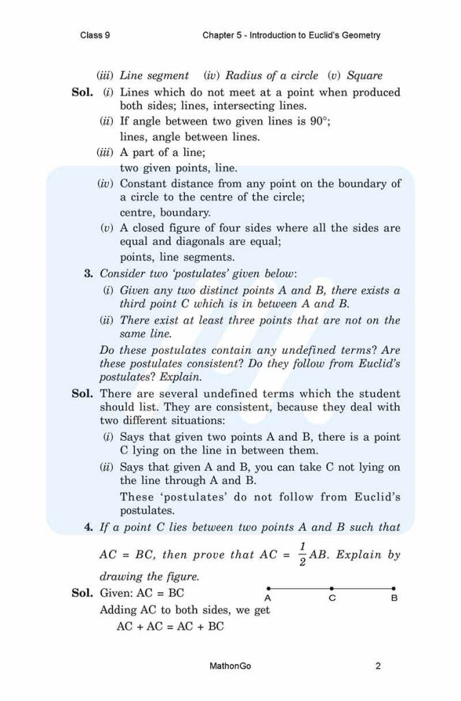 Chapter 5 - Introduction to Euclid's Geometry