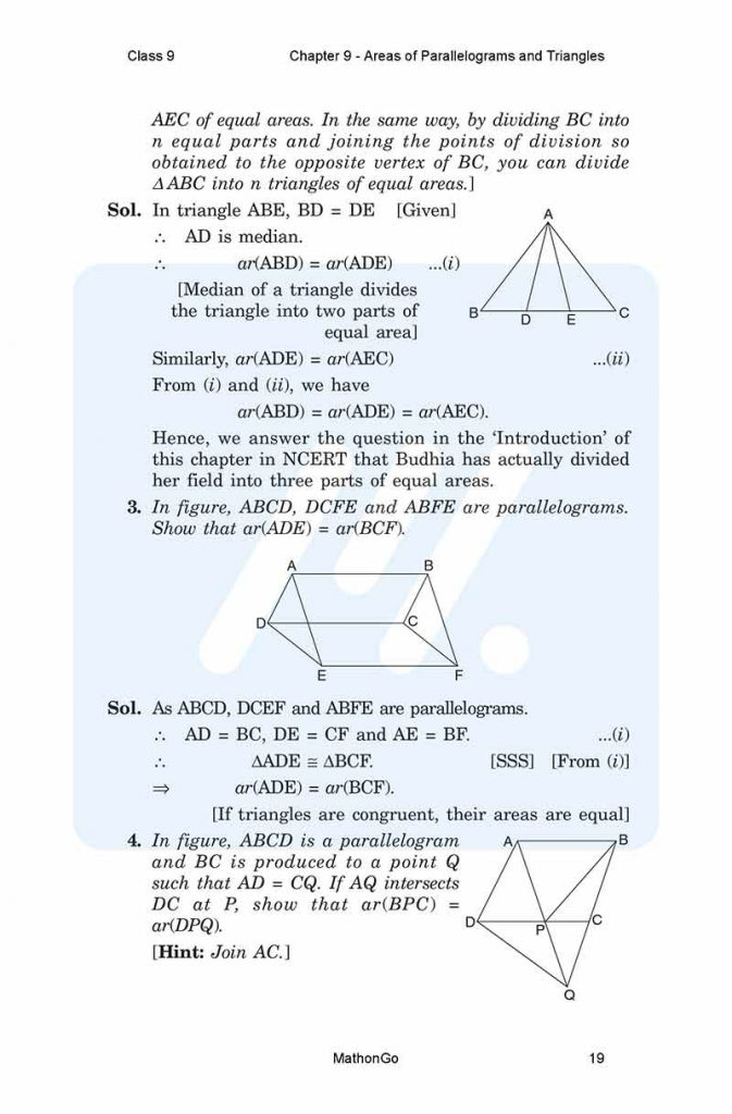 Chapter 9 - Areas of Parallelograms and Triangles