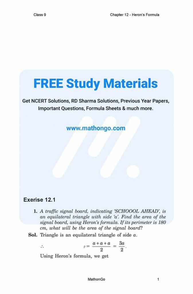 NCERT Solutions for Class 9 Maths Chapter 12 - Heron's