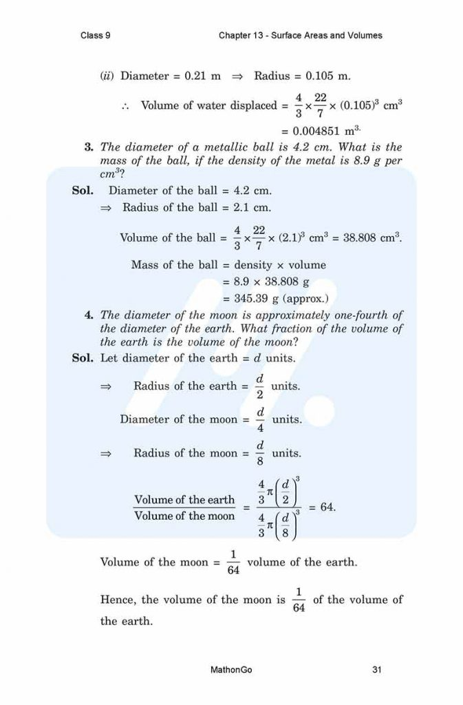Chapter 13 - Surface Areas and Volumes