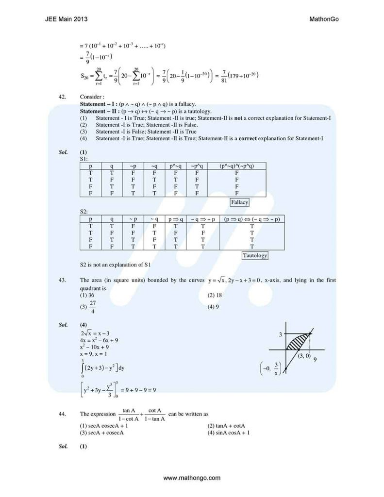 JEE Main 2013 Question Paper with Solutions