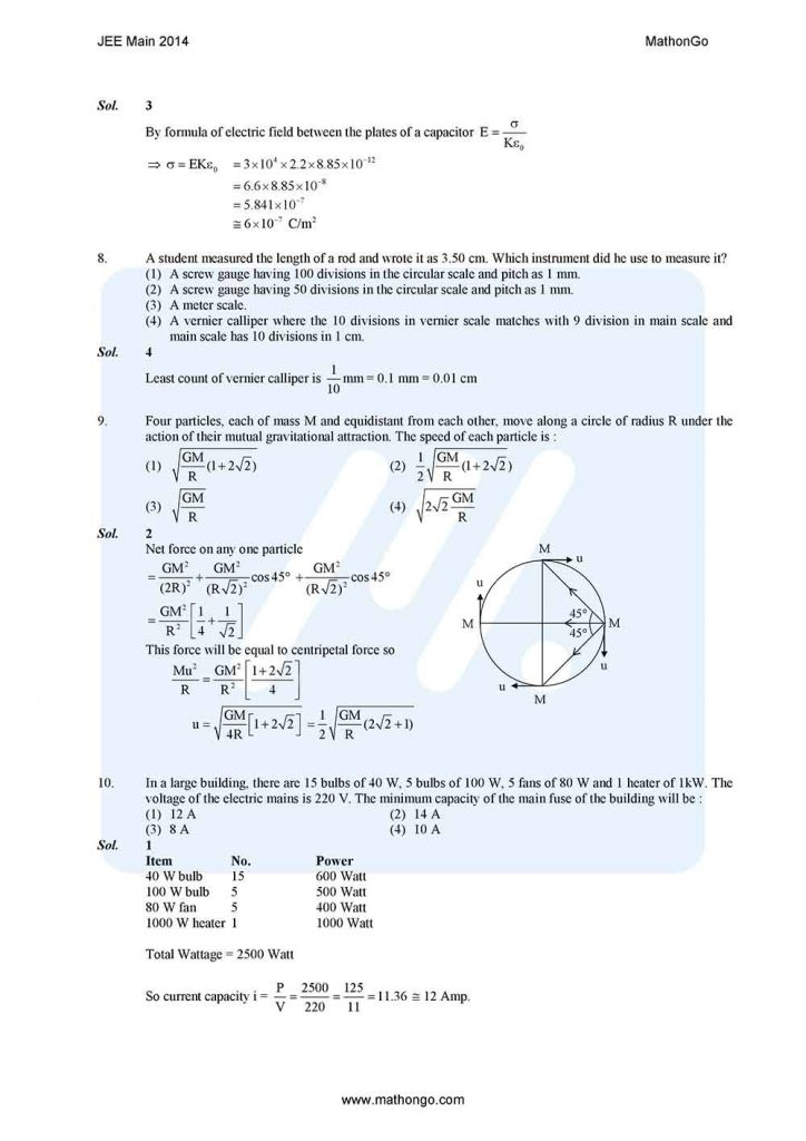 JEE Main 2014 Question Paper with Solutions