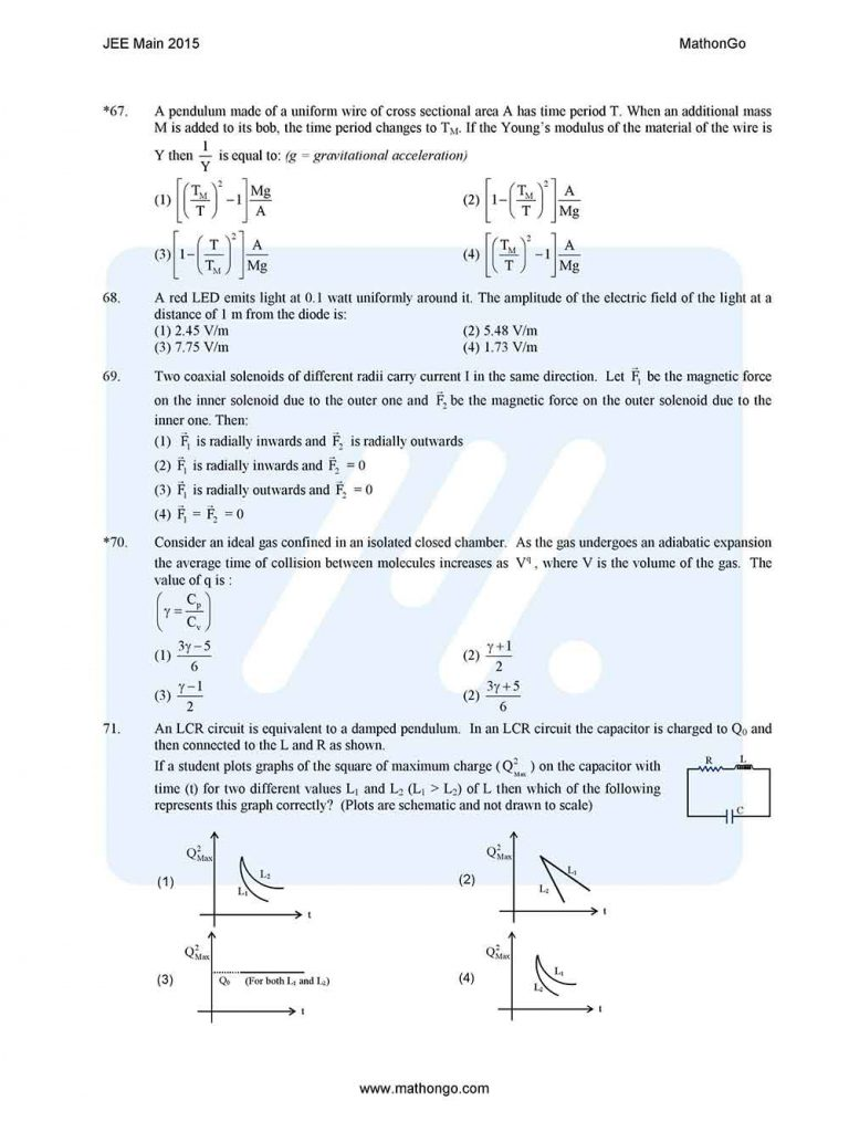 JEE Main 2015 Question Paper with Solutions