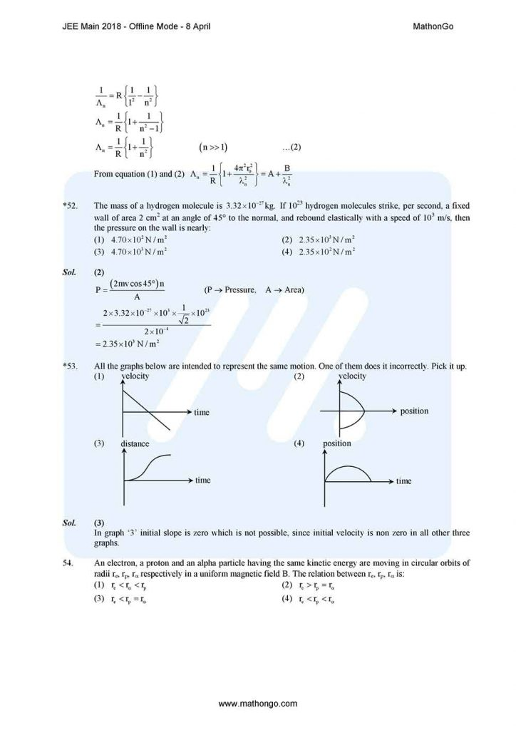 JEE Main 2018 8 April (Offline Mode) Question Paper with Solutions