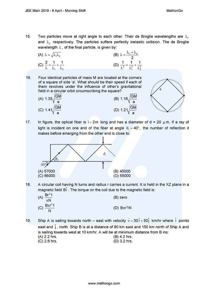 JEE Main 2019 8 April Morning Shift Question Paper with Solutions