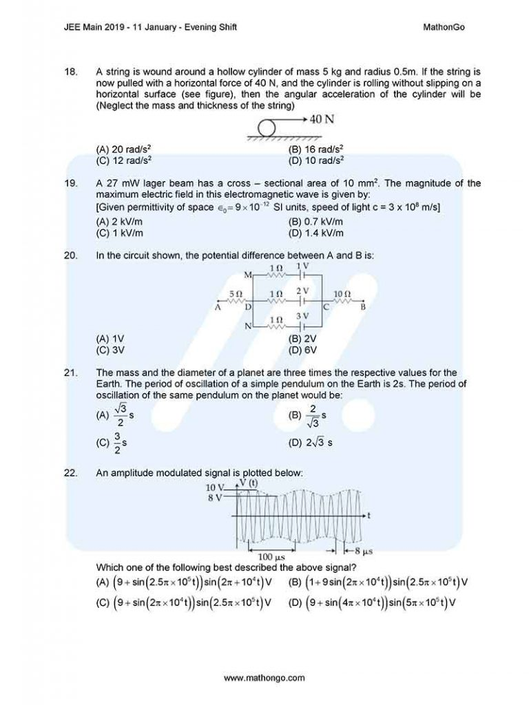 JEE Main 2019 11 January Evening Shift Question Paper with Solutions