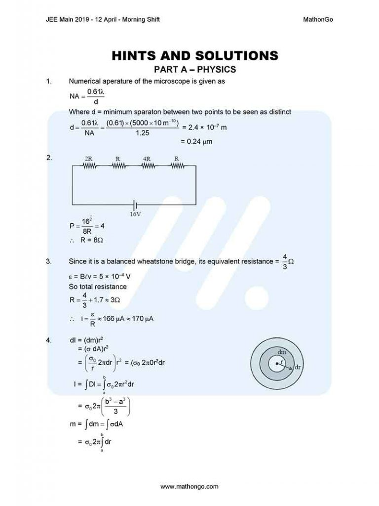 JEE Main 2019 12 April Morning Shift Question Paper with Solutions