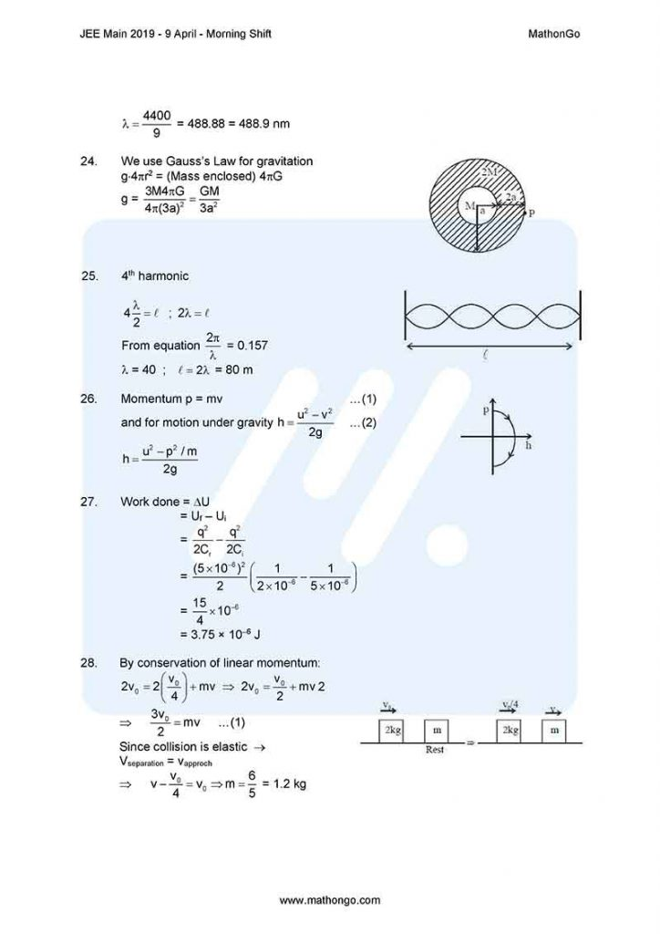 JEE Main 2019 9 April Morning Shift Question Paper with Solutions