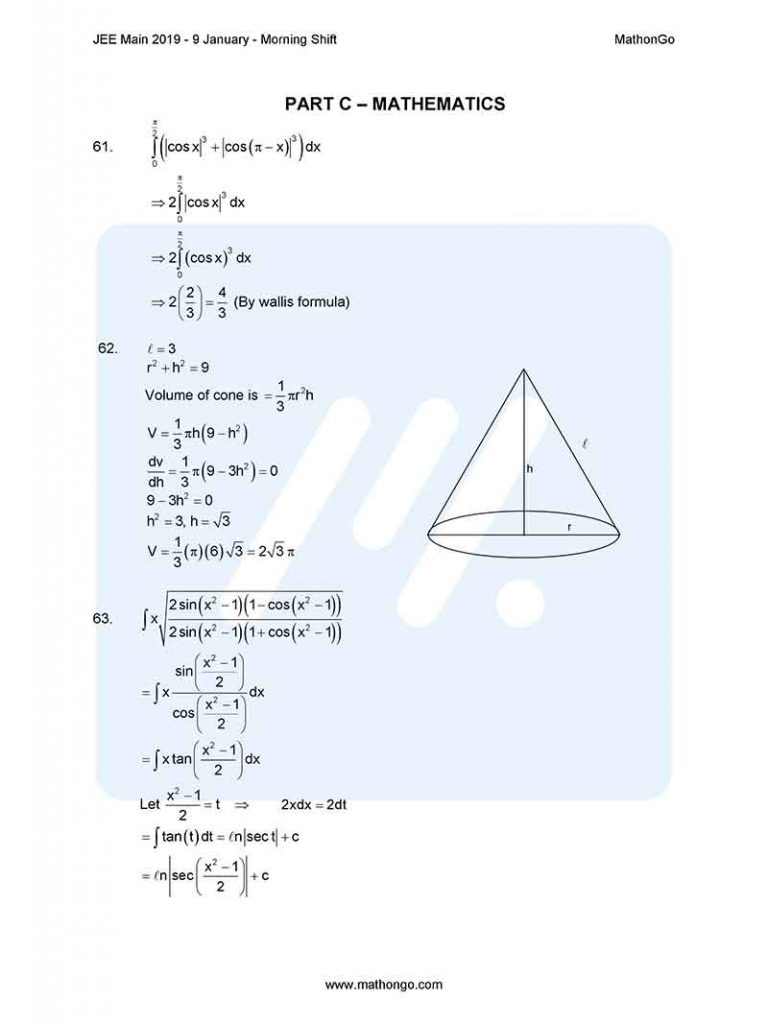 JEE Main 2019 9 January Morning Shift Question Paper with Solutions