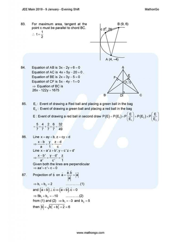 JEE Main 2019 9 January Evening Shift Question Paper with Solutions