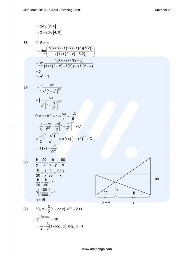 JEE Main 2019 8 April Evening Shift Question Paper with Solutions