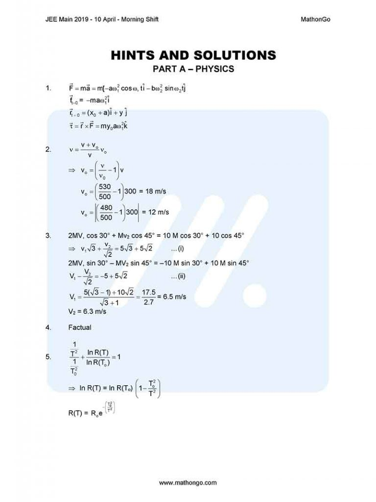 JEE Main 2019 10 April Morning Shift Question Paper with Solutions