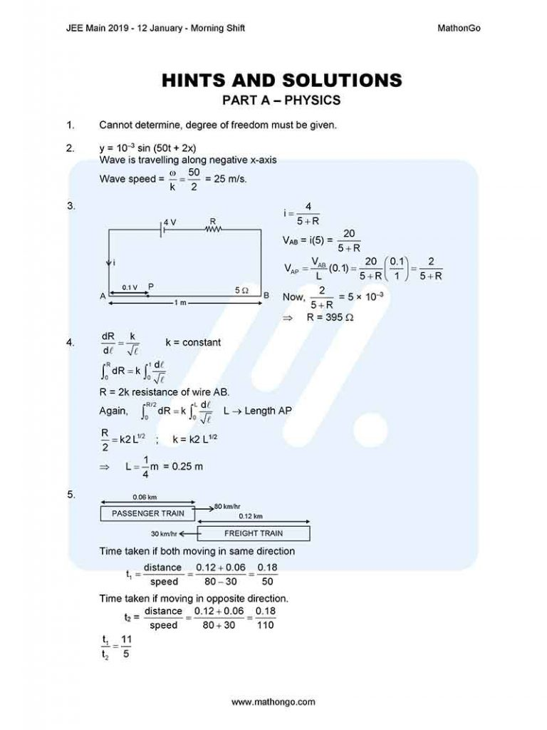 JEE Main 2019 12 January Morning Shift Question Paper with Solutions