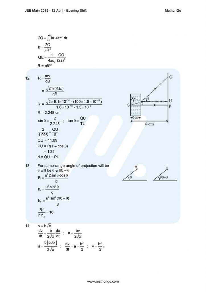JEE Main 2019 12 April Evening Shift Question Paper with Solutions