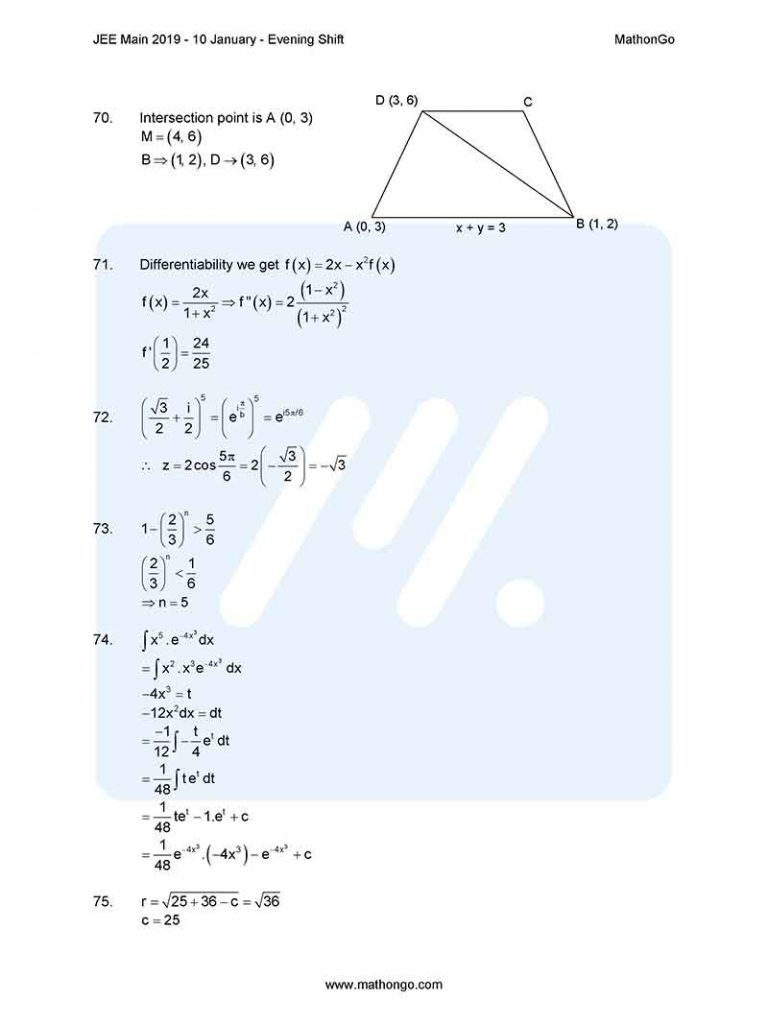 JEE Main 2019 10 January Evening Shift Question Paper with Solutions
