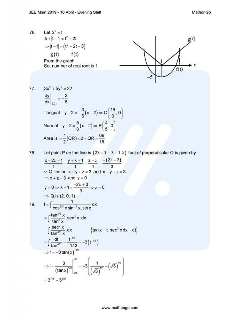 JEE Main 2019 10 April Evening Shift Question Paper with Solutions