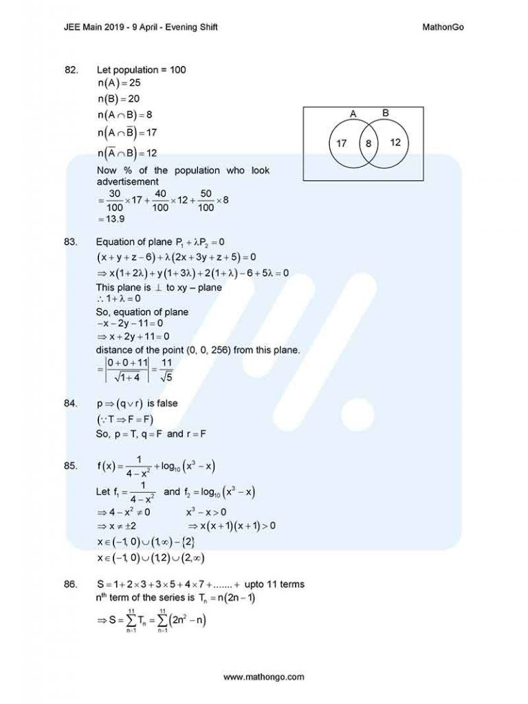 JEE Main 2019 9 April Evening Shift Question Paper with Solutions