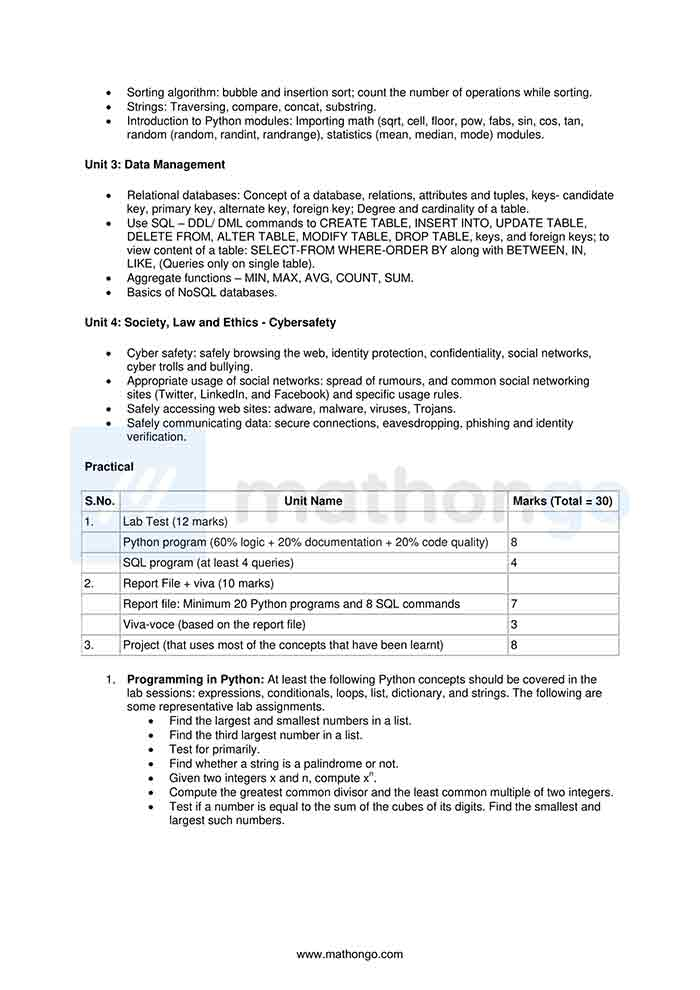 CBSE Syllabus for Class 11 Computer Science