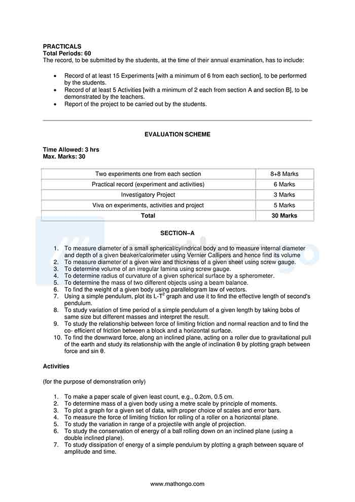 CBSE Syllabus for Class 11 Physics