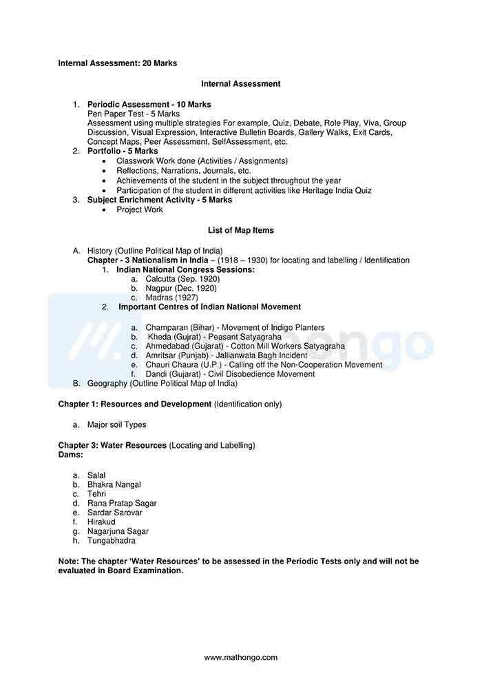 CBSE Syllabus for Class 10 Social Science