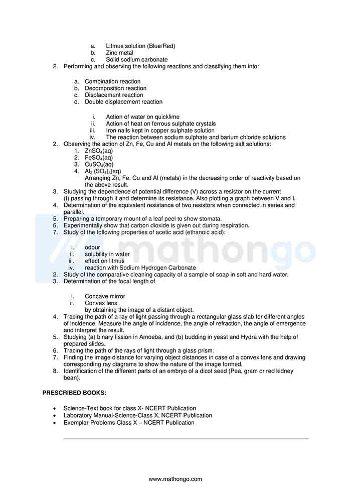 CBSE Syllabus for Class 10 Science