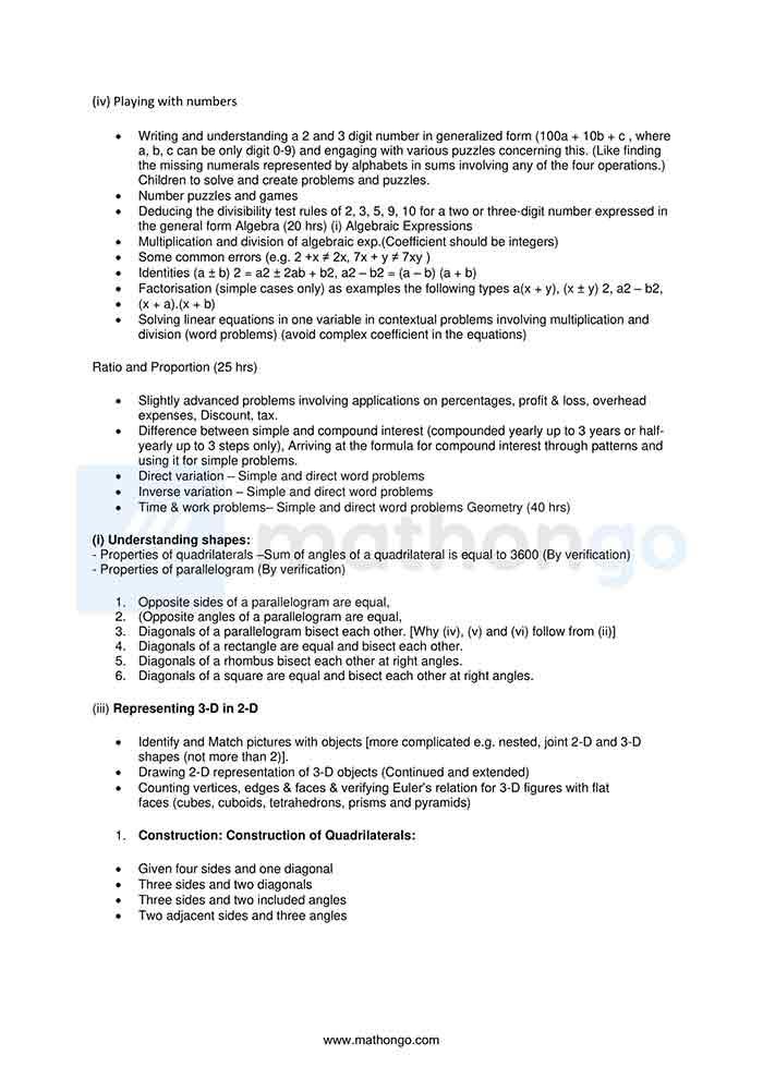 CBSE Syllabus for Class 8 Maths