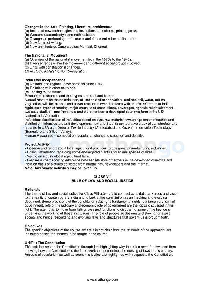 CBSE Syllabus for Class 8 Social Science