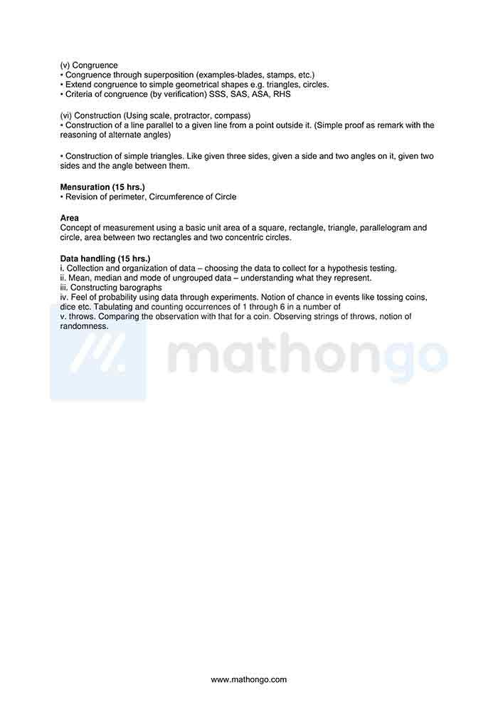 CBSE Syllabus for Class 7 Maths