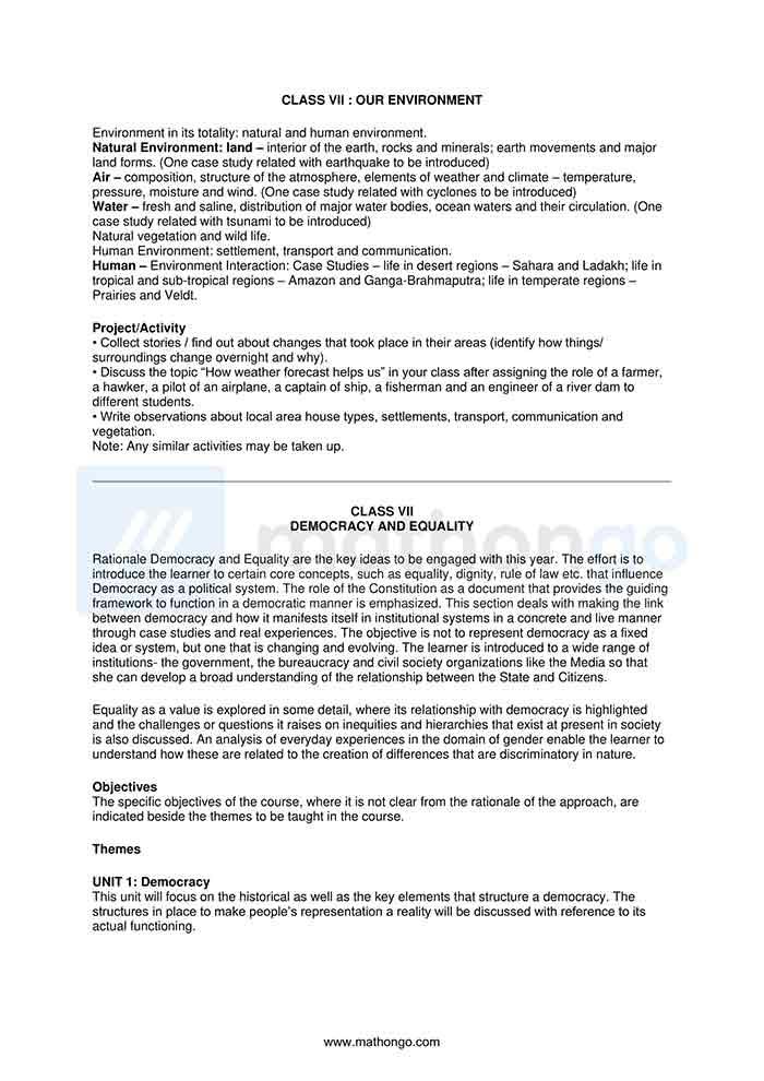CBSE Syllabus for Class 7 Social Science