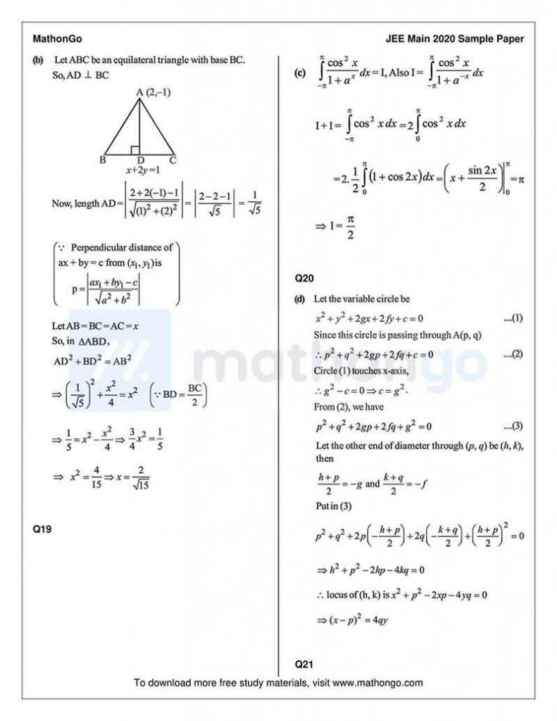 JEE Main Sample Paper 1