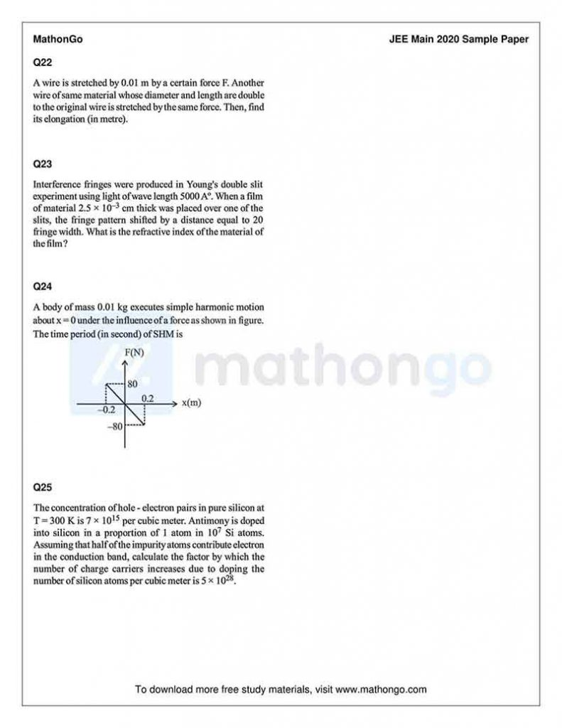 JEE Main Sample Paper 2