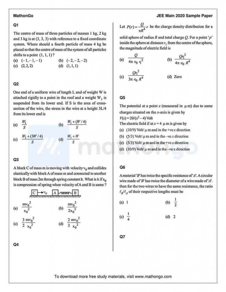 JEE Main Sample Paper 3