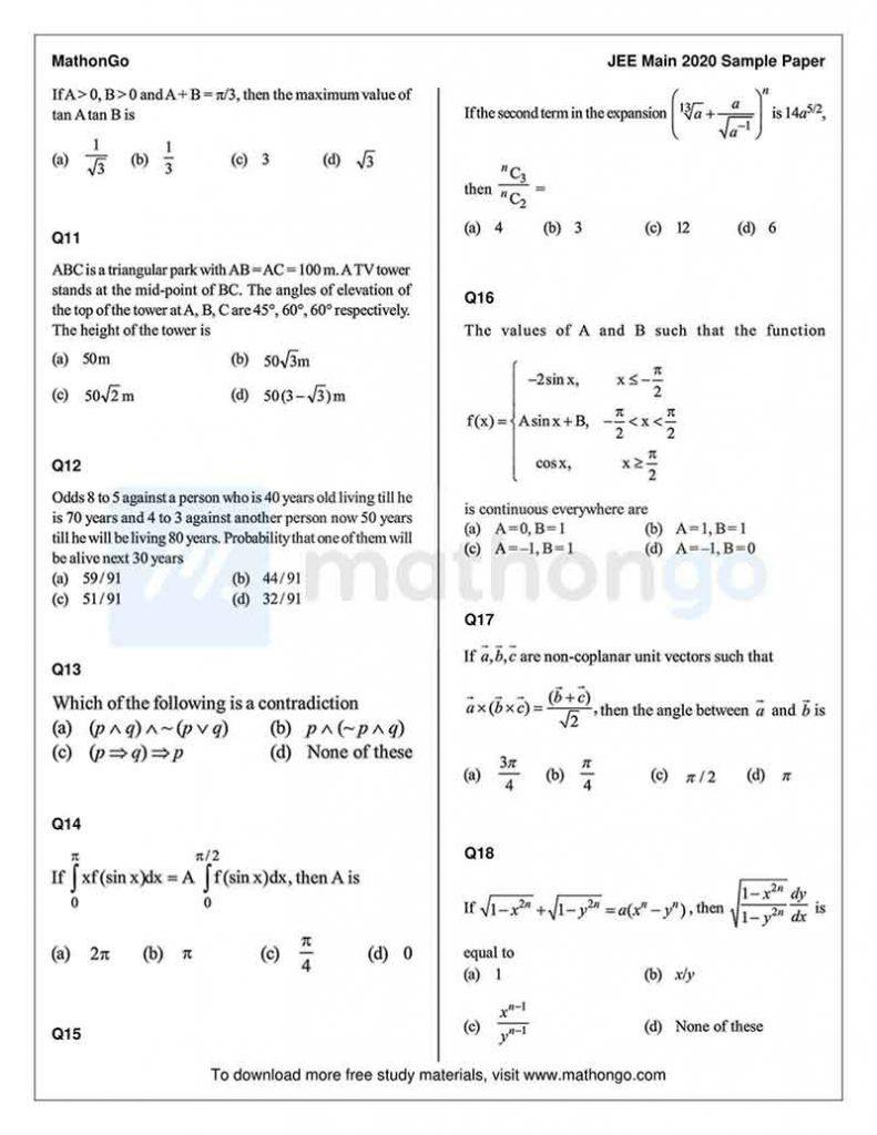 JEE Main Sample Paper 5