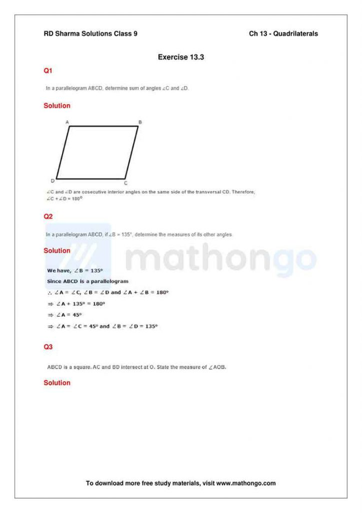 RD Sharma Class 9 Solutions Chapter 13 Quadrilaterals
