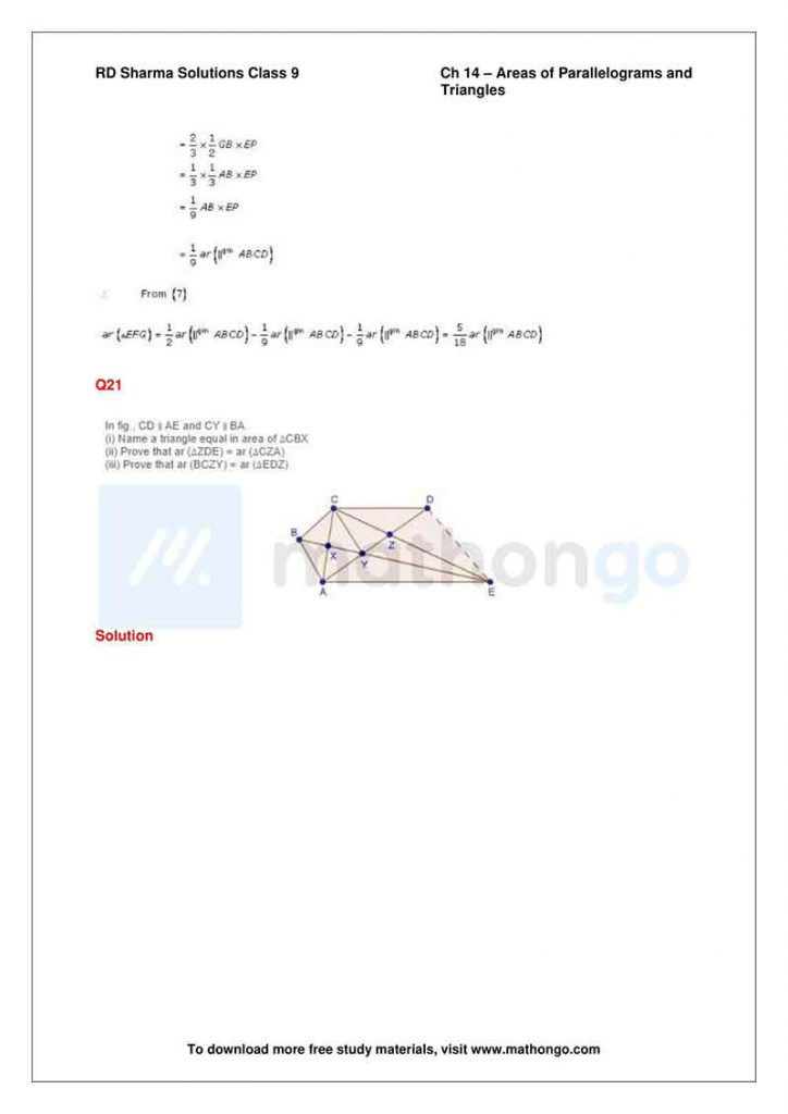 RD Sharma Class 9 Solutions Chapter 14 Areas of Parallelograms and Triangles
