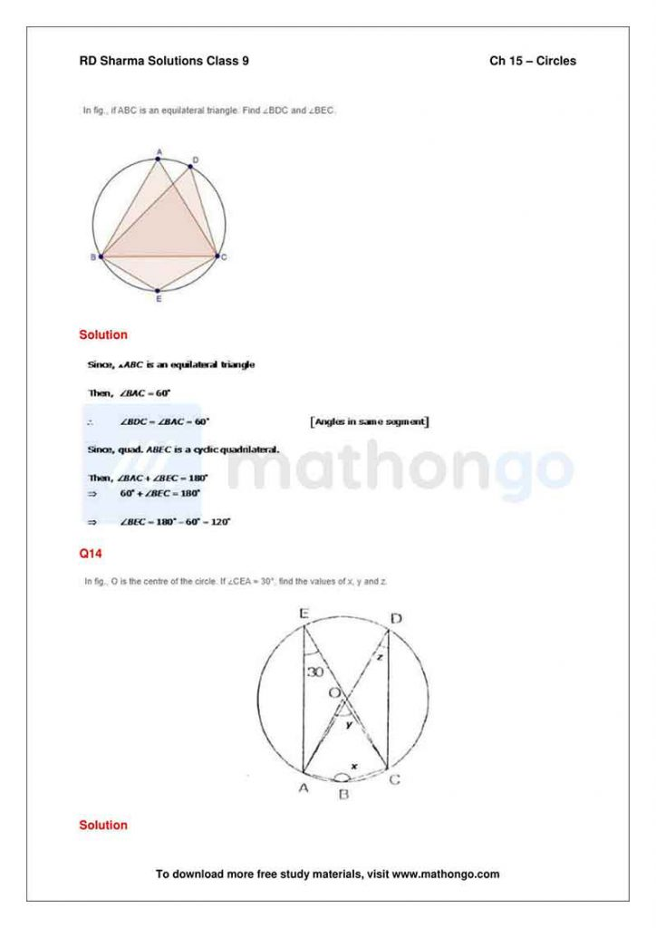 RD Sharma Class 9 Solutions Chapter 15 Circles