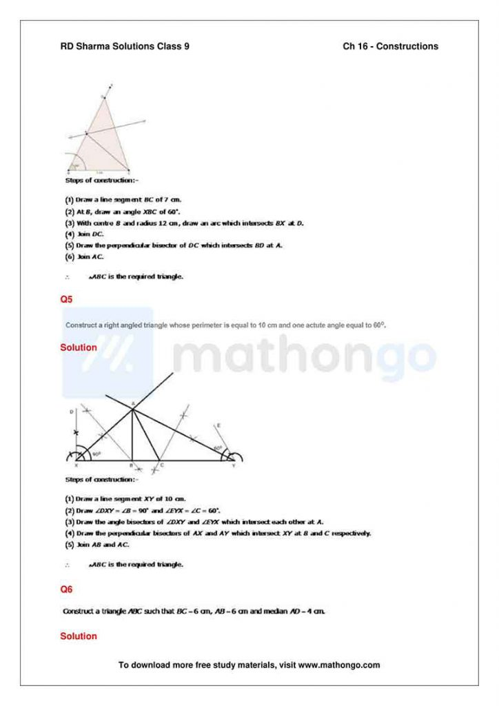 RD Sharma Class 9 Solutions Chapter 16 Constructions