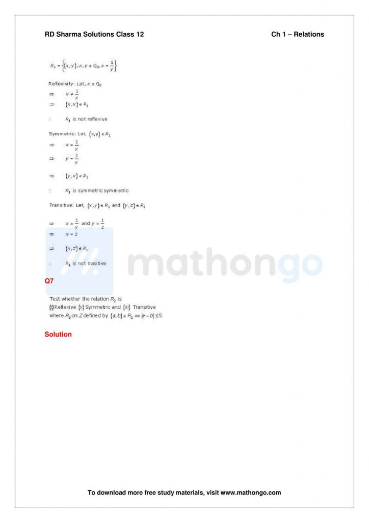 RD Sharma Class 12 Solutions Chapter 1 Relations