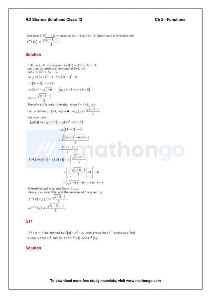 RD Sharma Class 12 Solutions Chapter 2 Functions