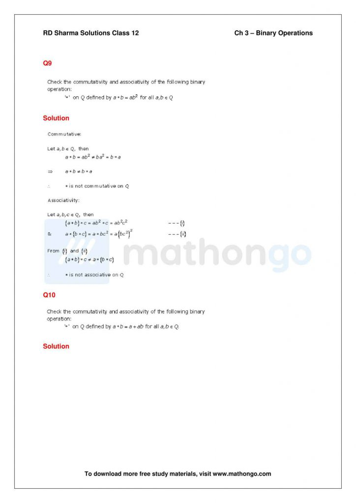 RD Sharma Class 12 Solutions Chapter 3 Binary Operations