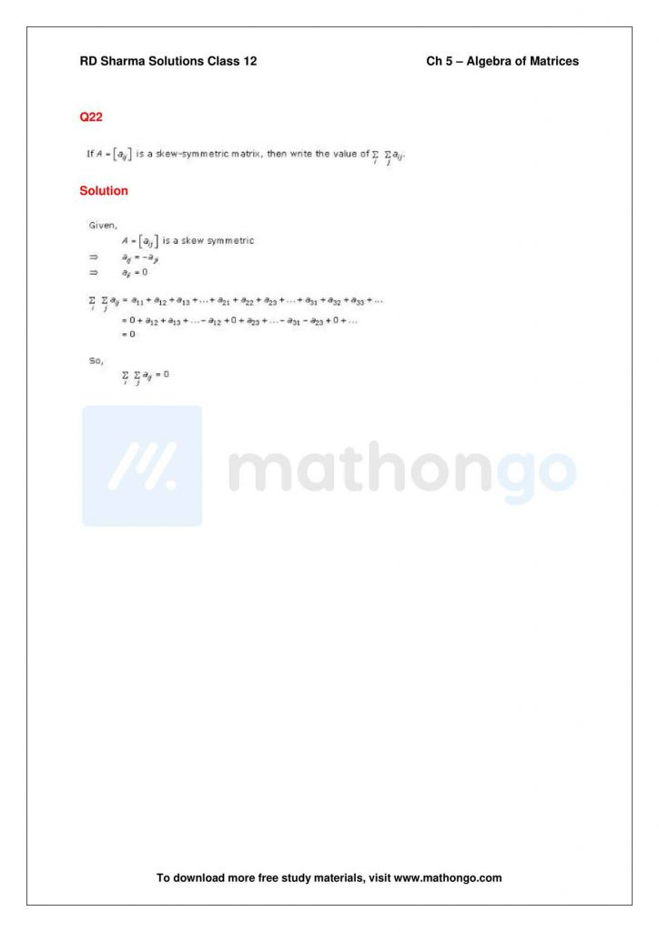 RD Sharma Class 12 Solutions Chapter 5 Algebra of Matrices