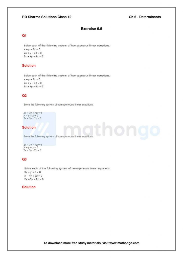 RD Sharma Class 12 Solutions Chapter 6 Determinants